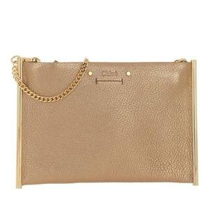 CHLOE Metallic Calfskin Mini Roy Chain Bag Gold